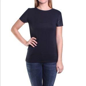 Michael Kors Vegan Leather Sleeve T-Shirt Navy